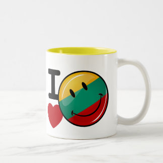 Love From Lithuania Smiling Flag Two-Tone Coffee Mug