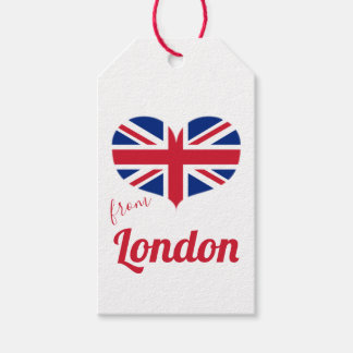 Love from London | Heart Shaped UK Flag Union Jack Gift Tags
