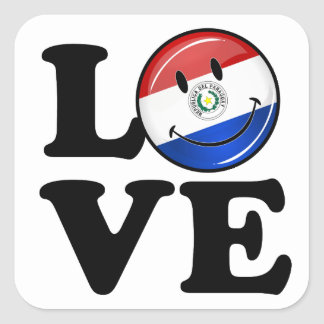 Love From Paraguay Smiling Flag Square Sticker