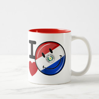 Love From Paraguay Smiling Flag Two-Tone Coffee Mug