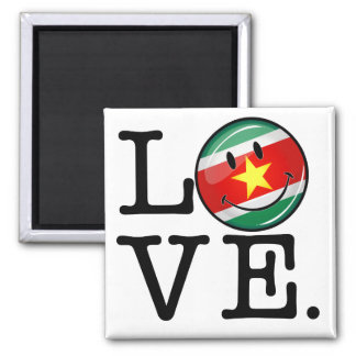 Love From Suriname Smiling Flag Square Magnet