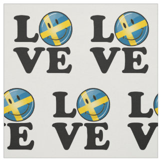 Love From Sweden Smiling Flag Fabric