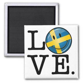 Love From Sweden Smiling Flag Square Magnet