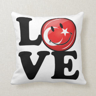 Love From Turkey Smiling Flag Throw Pillow
