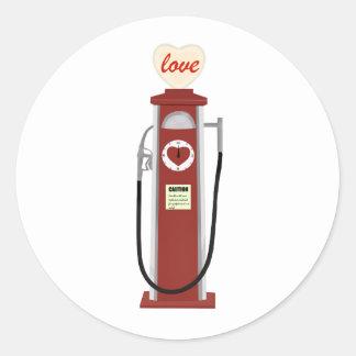 Love Gas Pump Round Sticker