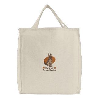 Love German Shepherd Embroidered Tote Bag