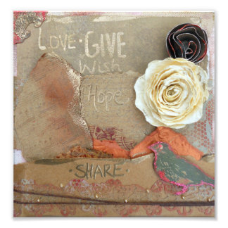 Love, Give, Hope, Share Mixed Media Photo Print