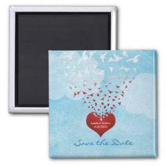 Love Gives Me Wings to Fly Wedding Save the Date Square Magnet