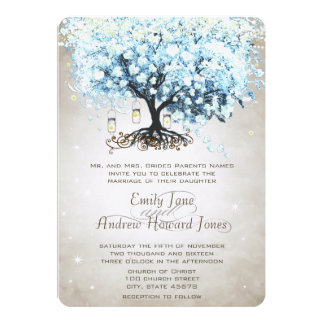 Love gives us Fairy Tale Heart Leaf Tree Wedding Cards