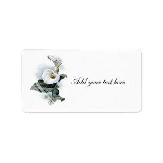 Love Glistens/Elegant White Calla Lily Wedding Address Label