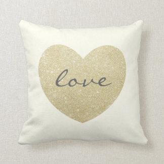 """Love"" Glitter golden heart Personalized Cream Cushion"