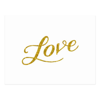 Love Gold Faux Glitter Metallic Inspirational Postcard