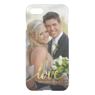 Love Gold Handwritten Wedding Photo Overlay Clear iPhone 8/7 Case
