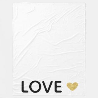 Love Gold Heart Fleece Blanket