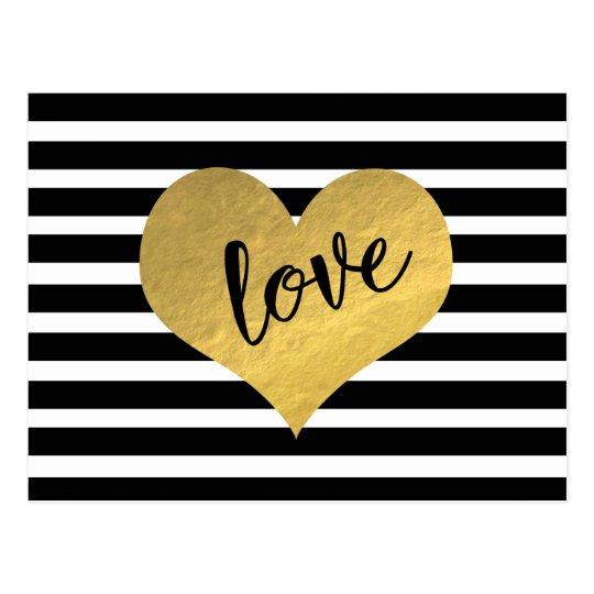 Love Gold Heart Stripes Postcard