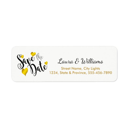 Love Gold Save The Date Heart Shape Brushed