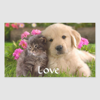 Love Golden Retriever Puppy  and Kitten  Stickers