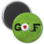 Love Golf 6 Cm Round Magnet