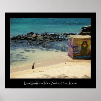 Love Graffiti at Paia Beach, Maui Poster