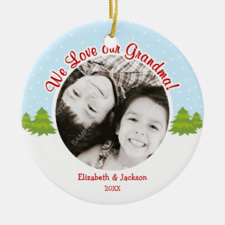 Love Grandma Christmas Tree Snow Photo Christmas Ornament