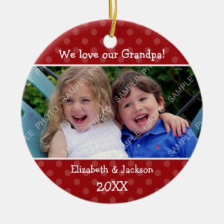 Love Grandpa Red Polka Dot Christmas Photo Round Ceramic Decoration