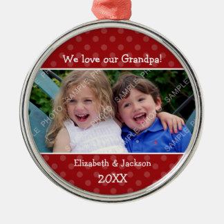 Love Grandpa Red Polka Dot Christmas Photo Silver-Colored Round Decoration