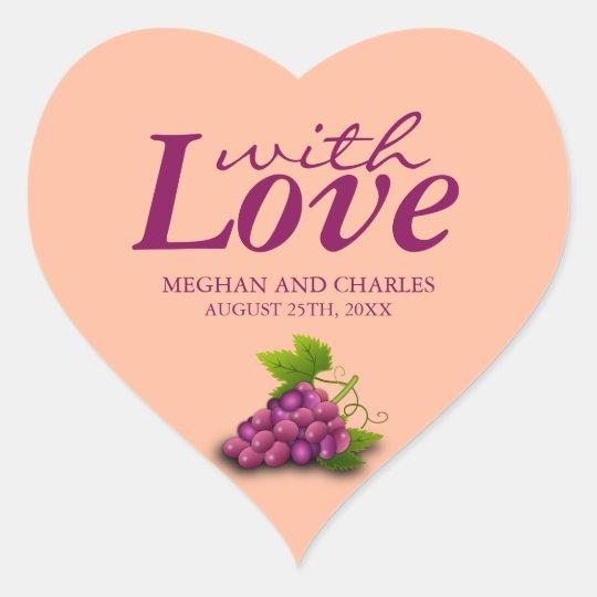 Love & Grapes Heart-Shaped Wedding Envelope Seals