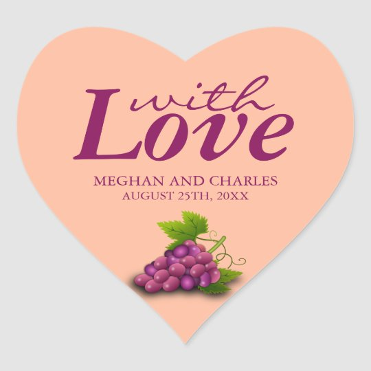 Love & Grapes Heart-Shaped Wedding Envelope Seals Heart Sticker