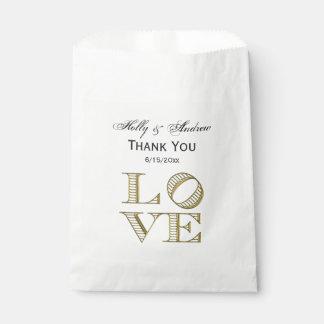 LOVE Graphic Text - Faux Gold Favour Bags
