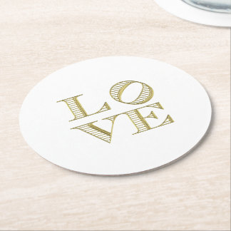 LOVE Graphic Text - Faux Gold Round Paper Coaster