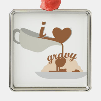 Love Gravy Silver-Colored Square Decoration