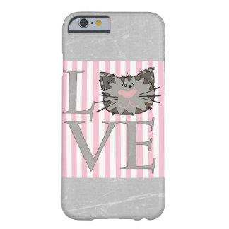 Love, Gray and Pink Cat Face Cell Phone Case