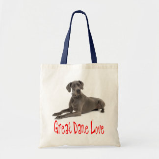 Love Great Dane Puppy Dog Tote Bag Budget Tote Bag