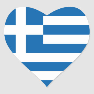 Love Greece Flag, Greek Heart Artwork Sticker