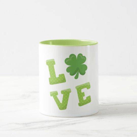 Love Green Block Letters for St Patricks Day Mug