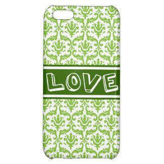Love Green Damask Floral Pattern iPhone 5 Case