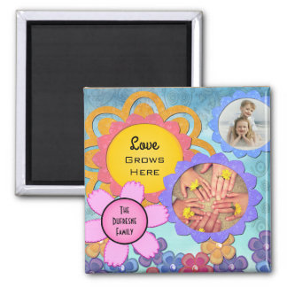 """""""Love Grows Here"""" Personalized Flowers Square Magnet"""