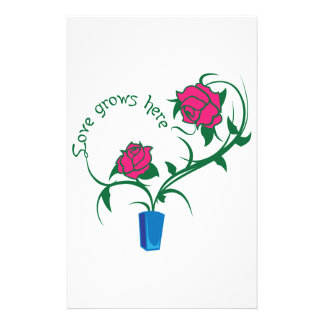 LOVE GROWS HERE PERSONALIZED STATIONERY