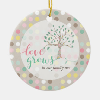 Love Grows In Our Family Tree Baby Shower Nursery Round Ceramic Decoration