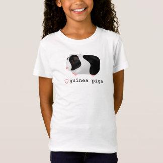 """Love Guinea Pigs"" Cute Black & White Guinea Pig T-Shirt"