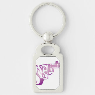 Love gun. Silver-Colored rectangle key ring