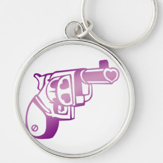 Love gun. Silver-Colored round key ring