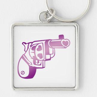 Love gun. Silver-Colored square key ring