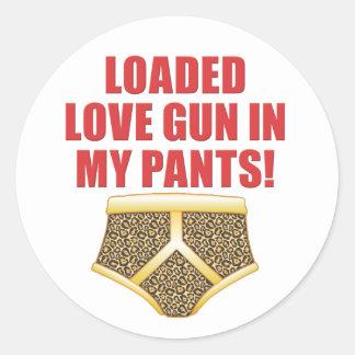 Love Gun Round Stickers