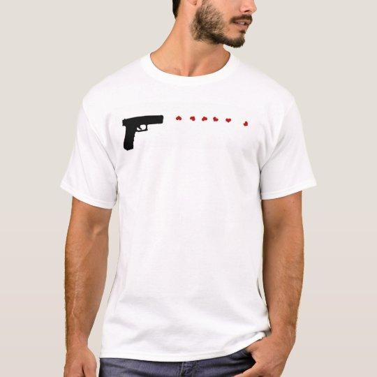 Love Gun womens thin white and grey striped tshirt