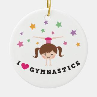 Love gymnastics cartoon girl brown hair handstand round ceramic decoration