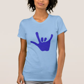 Love hand, sign language in blue, shirts