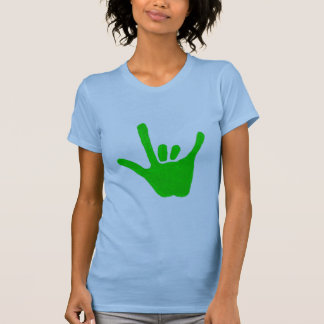 Love hand, sign language in green, shirts