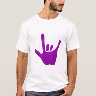 Love hand, sign language in purple on Tee