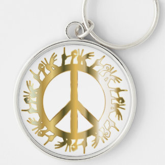 LOVE HANDS PEACE SIGN Silver-Colored ROUND KEY RING